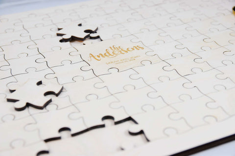 Personalized wedding guest book puzzle