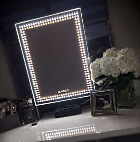 GLAMCOR Brilliant mirror is medium-sized and powered by cool LED lights