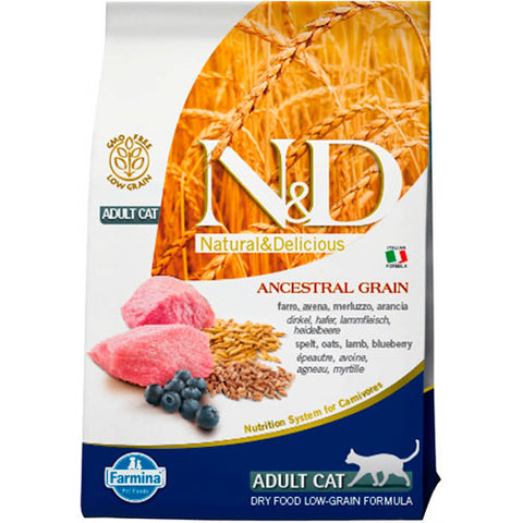 N&D LOW G. ADULT CAT CORDERO & ARÁNDANO 5KG
