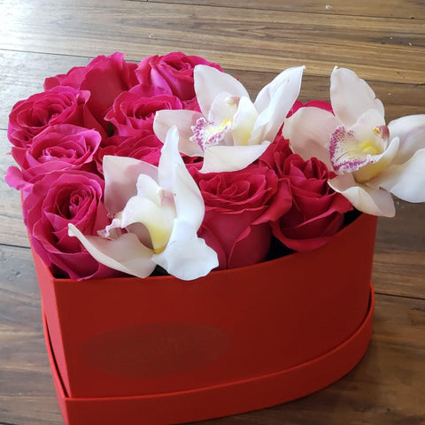 Bloom de Fleur Bouquet Big Box Heart box with Roses & orchids