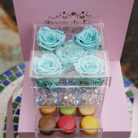 Bloom de Fleur Forever Roses Infinity N°.5 with Drawer - Forever Roses - Ocean Blue