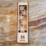 Bloom de Fleur Gift Gift - Wooden Wine Box - Snowflakes