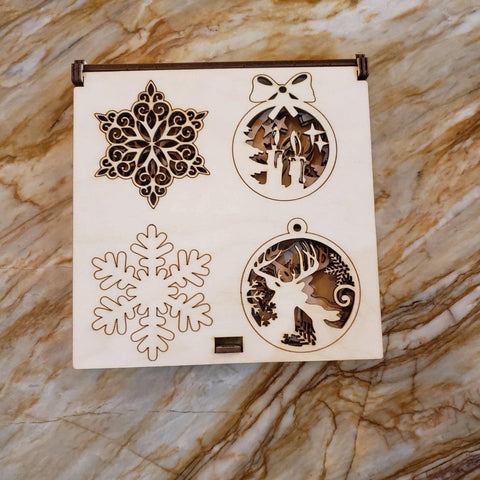 Wooden Box- Christmas Ornaments - Bloom de Fleur