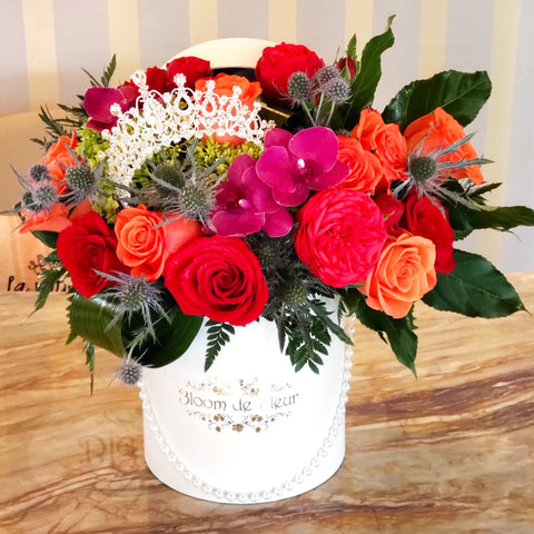 Bloom de Fleur Luxury White Luxury White - Royalty w/ Red & Orange Roses & Orchids
