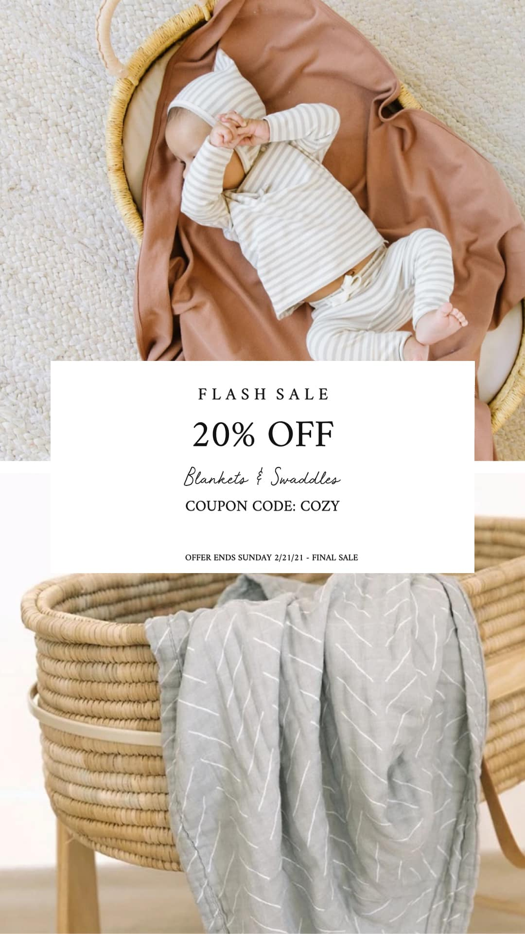 20% off all blankets and swaddles