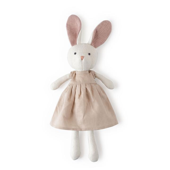 Hazel Village Emma Rabbit in Peach Linen Dress