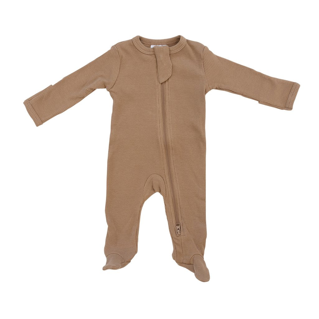 Mebie Baby Organic Ribbed Zipper Footie, Cafe