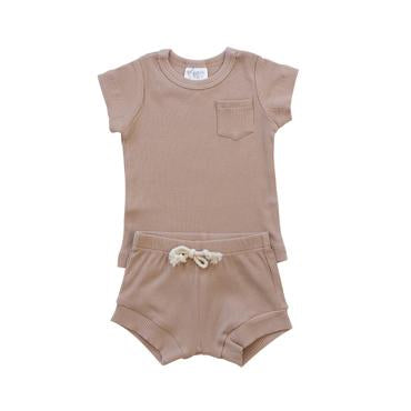 Mebie Baby Organic Ribbed Short Set, Pale Pink