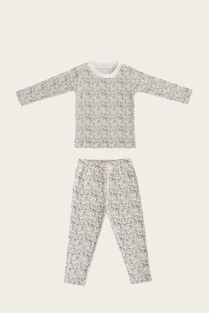 Organic Long Pajama Set, Summer Floral