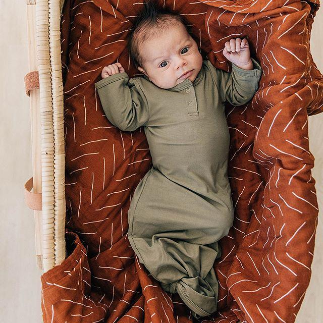 Mebie Baby Stretch Knot Gown, Olive