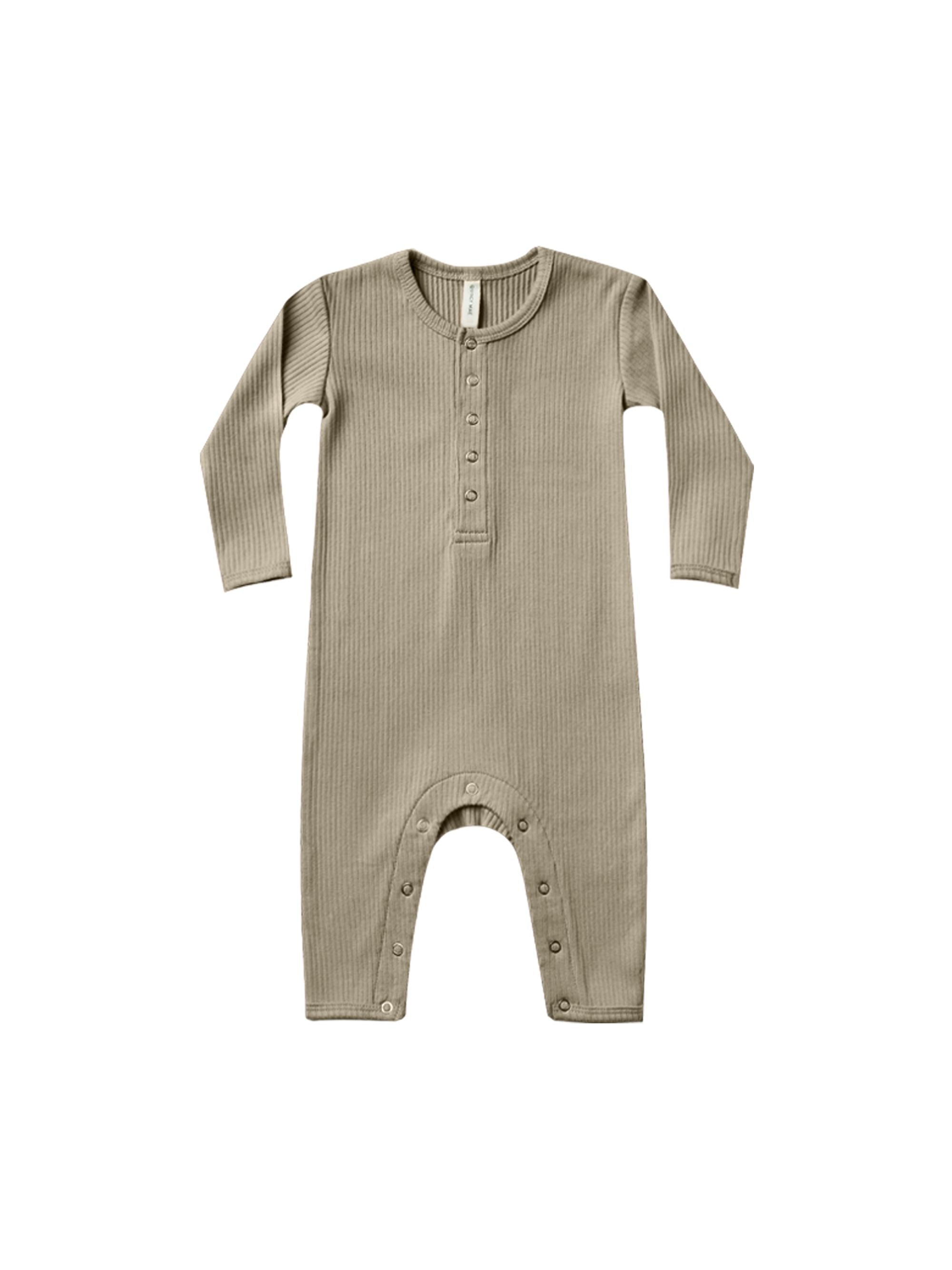 Quincy Mae Organic Ribbed Jumpsuit, Olive