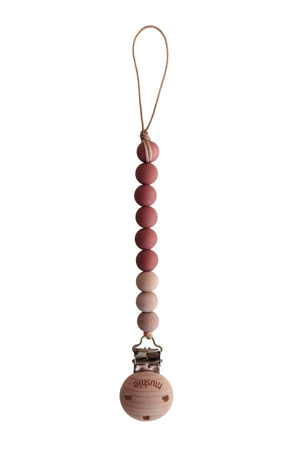 Mushie CLEO Pacifier Clip, Redwood