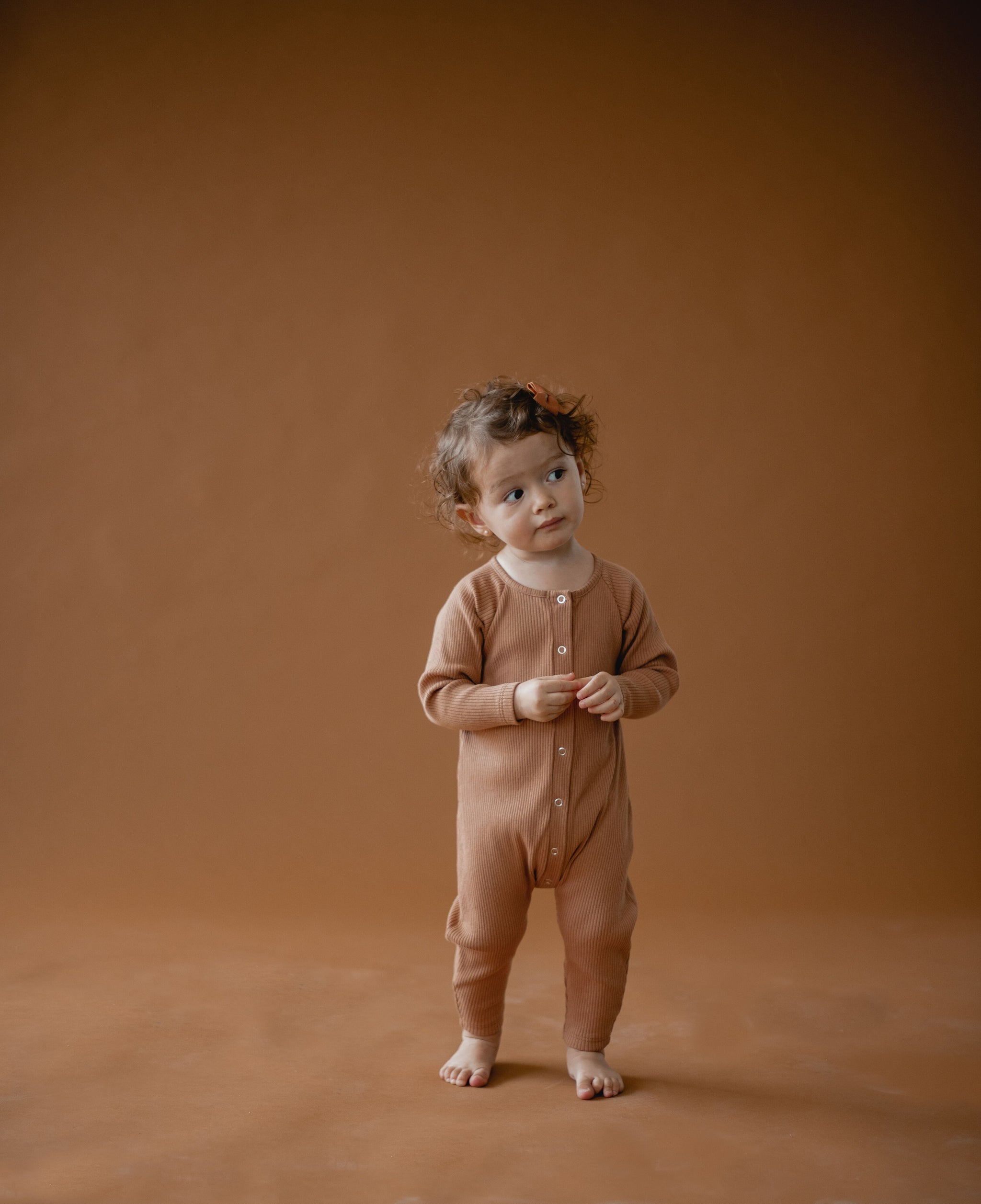 Little Urban Apparel Ribbed Romper, Copper