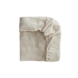 Mushie Extra Soft Muslin Crib Sheet, Fog