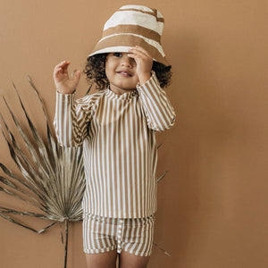 KidWild Organic Bucket Hat, Stripe Clay