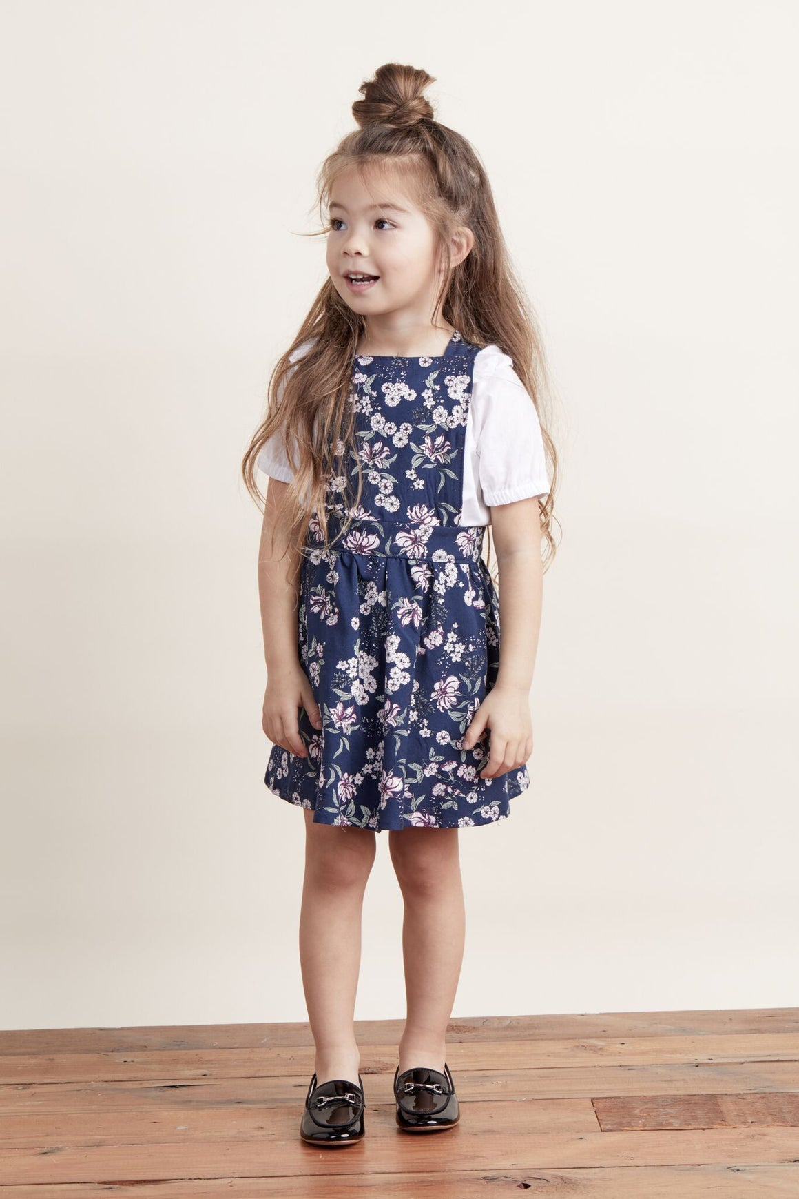 Lil' Lemons Juniper Floral Overall Dress, Midnight Floral