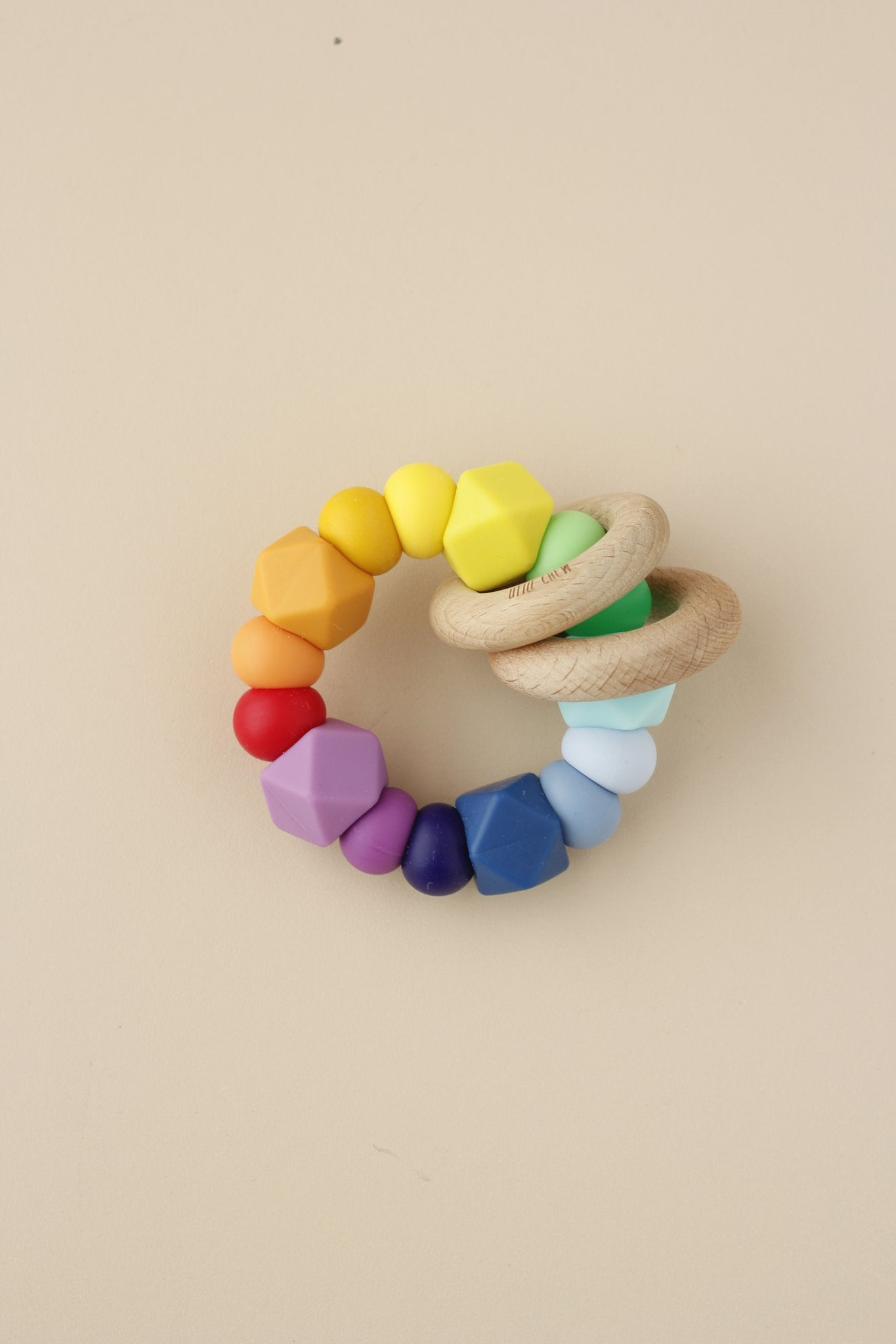 littleCHEW Silicone + Wood Ring Toy, Rainbow