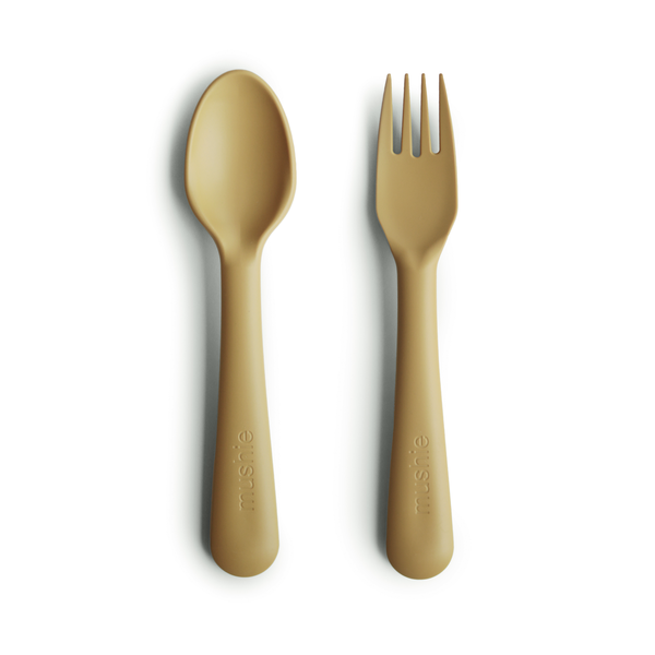 Mushie Fork and Spoon Set, Mustard