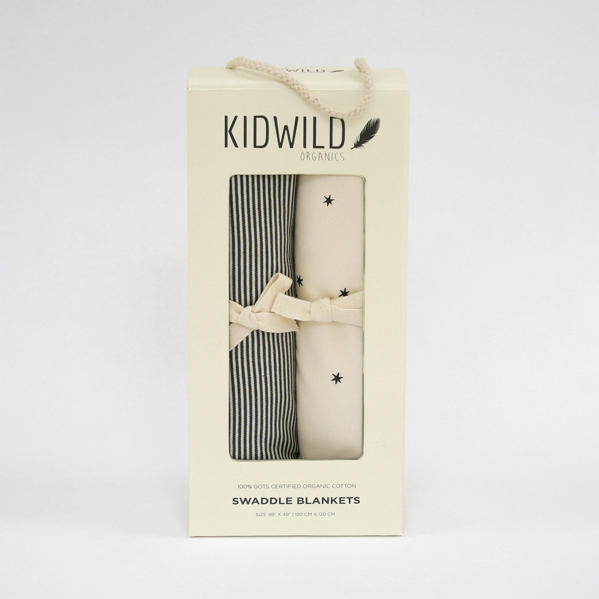 KidWild Organic Swaddle Blanket Set, Star & Stripe