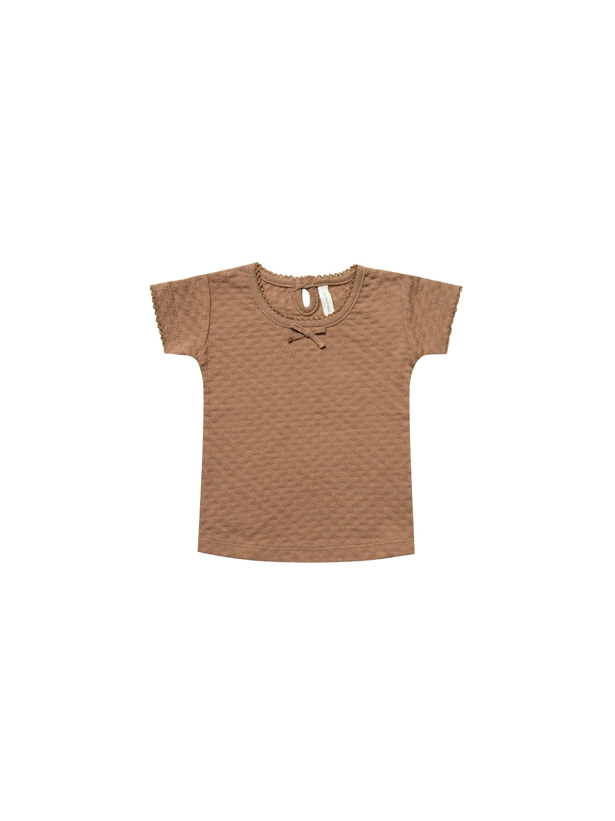 Quincy Mae Organic Pointelle Baby Tee, Copper