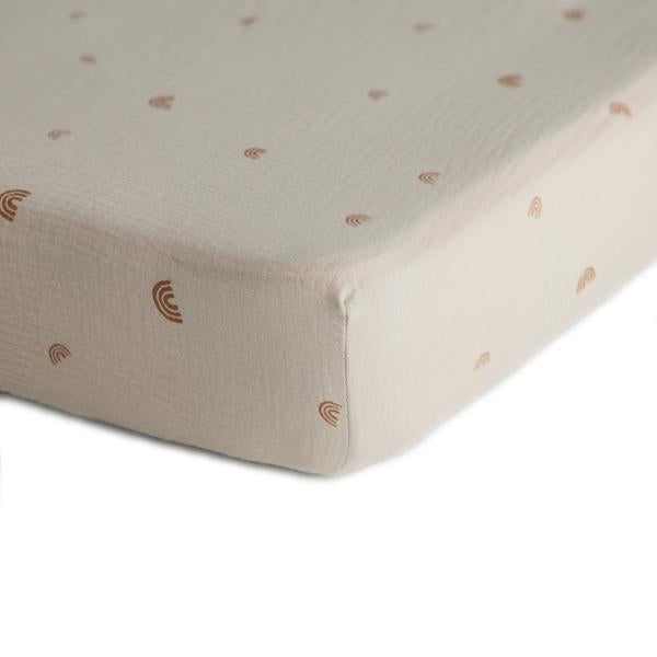 Mushie Extra Soft Muslin Crib Sheet, Rainbows