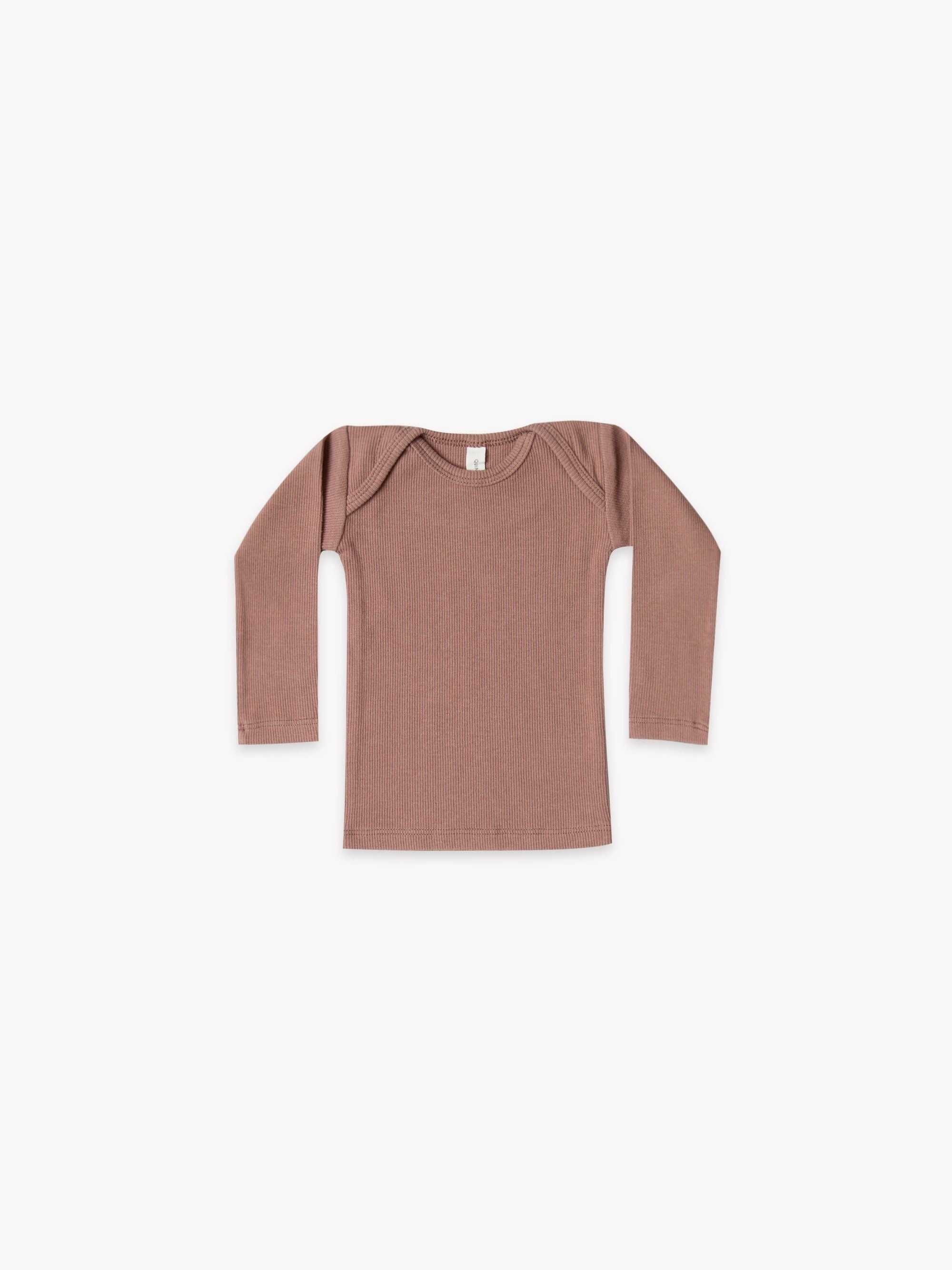 Quincy Mae Organic Ribbed Lap Tee, Clay