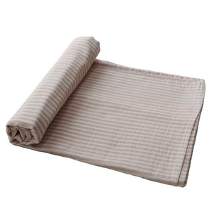 Mushie Organic Muslin Swaddle, Natural Stripe