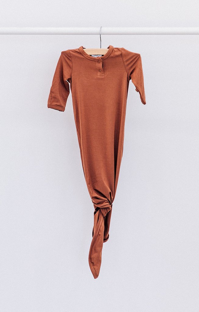 Mebie Baby Stretch Knot Gown, Rust