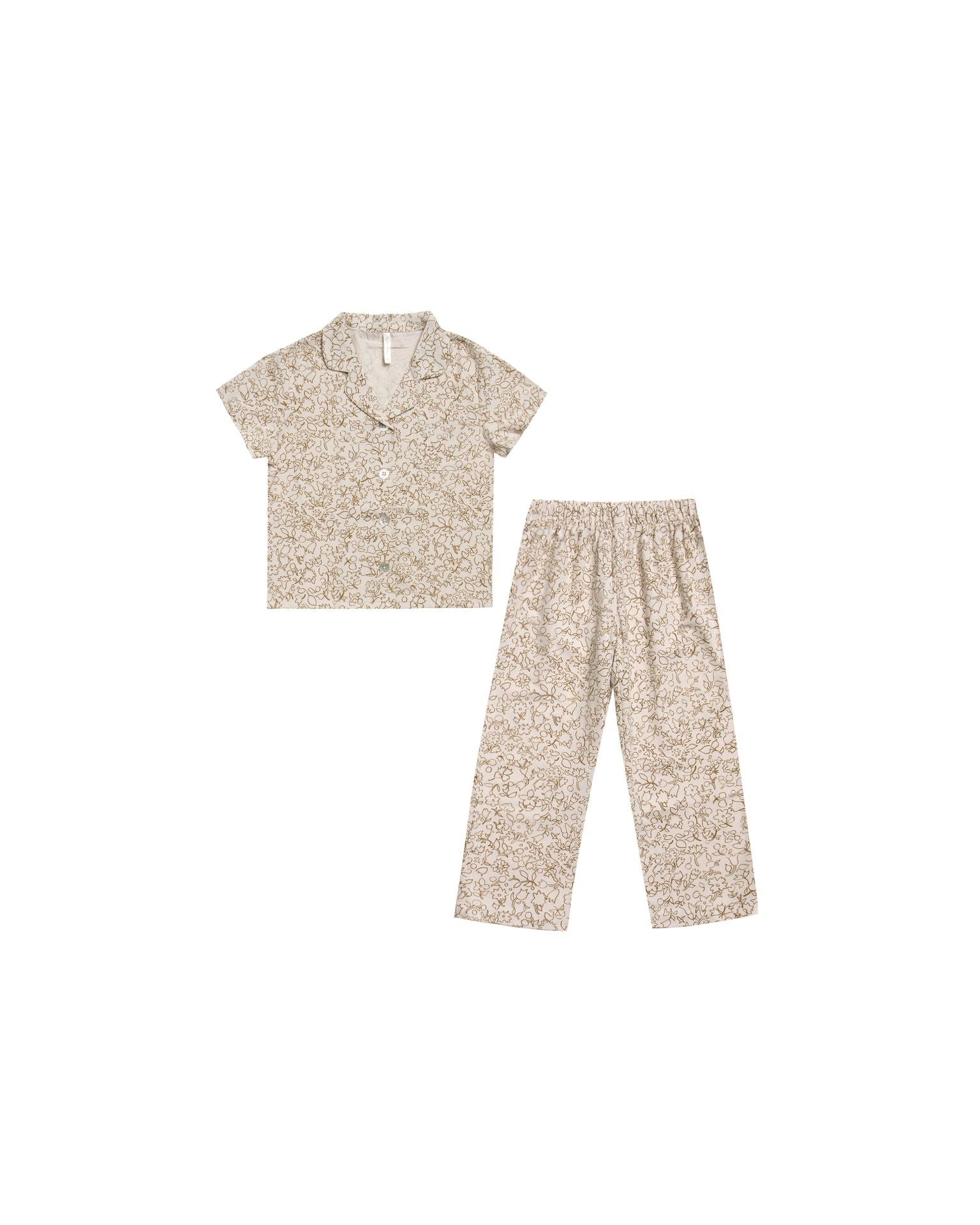 Rylee + Cru Organic Garden Outline Pajama Set, Natural