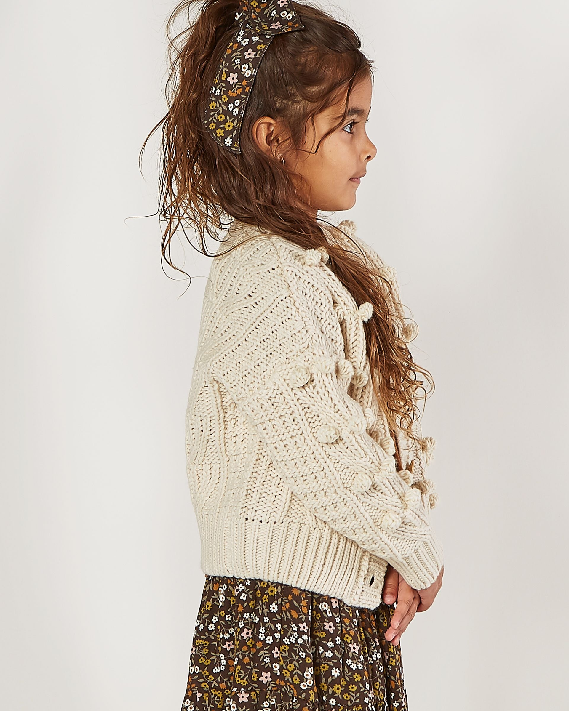 Rylee + Cru Bobble Cardigan, Natural