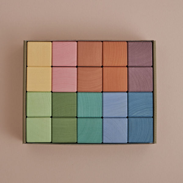 Raduga Grez Wooden Cubes Set, Earth Pastel