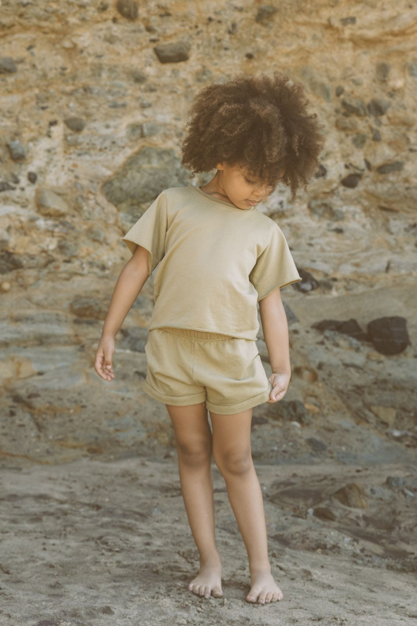 Go Gently Nation French Terry Tee, Sand Solid