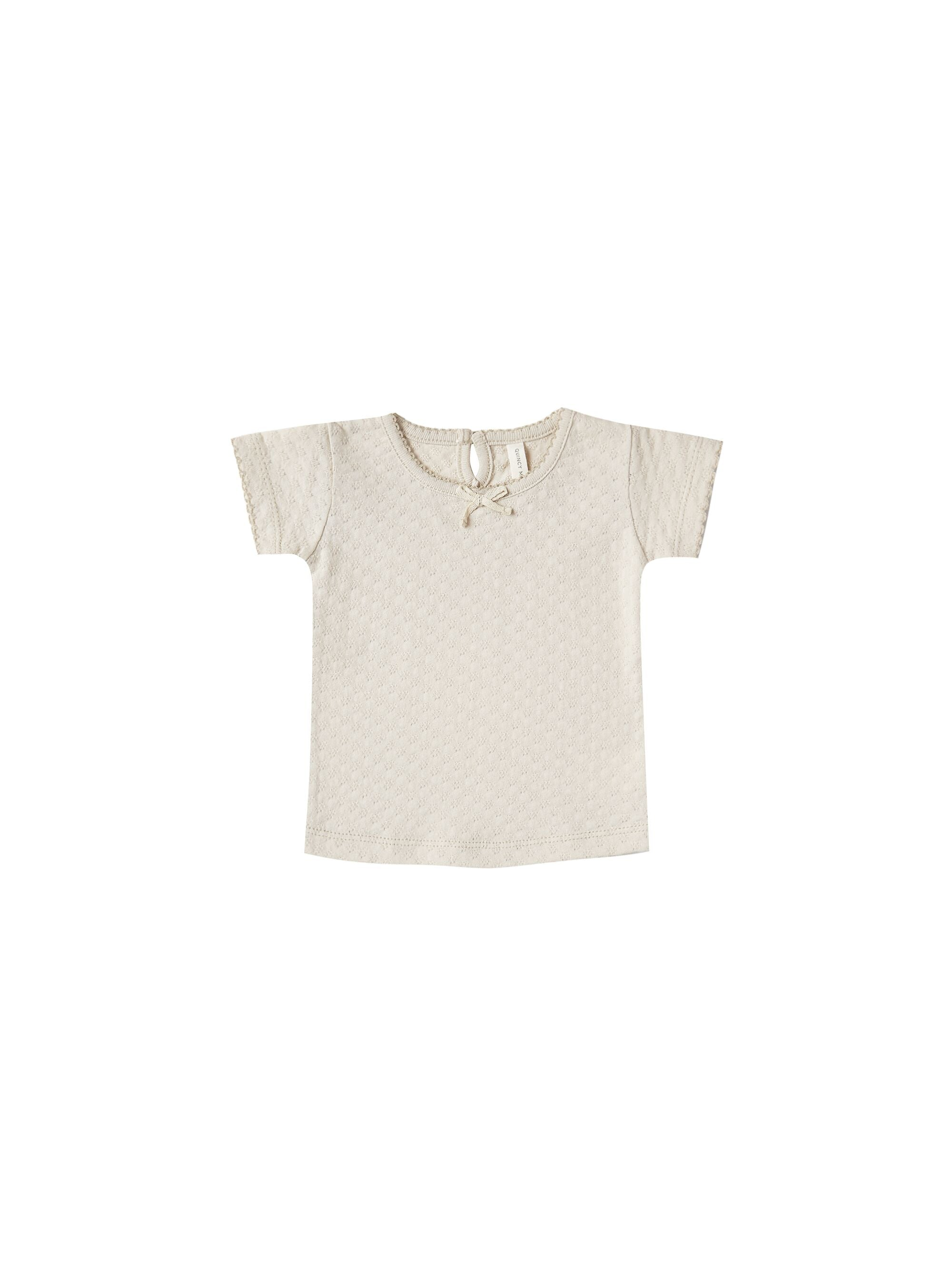 Quincy Mae Organic Pointelle Tee, Natural