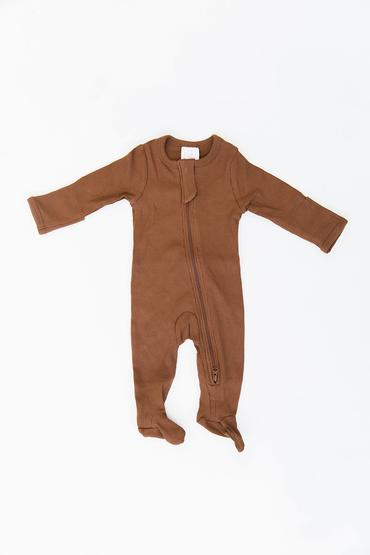 Mebie Baby Organic Ribbed Zipper Footie, Rust