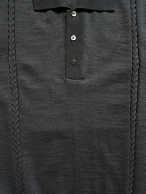 black cable knit polo