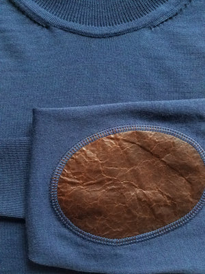 cobalt turtleneck with leather patches