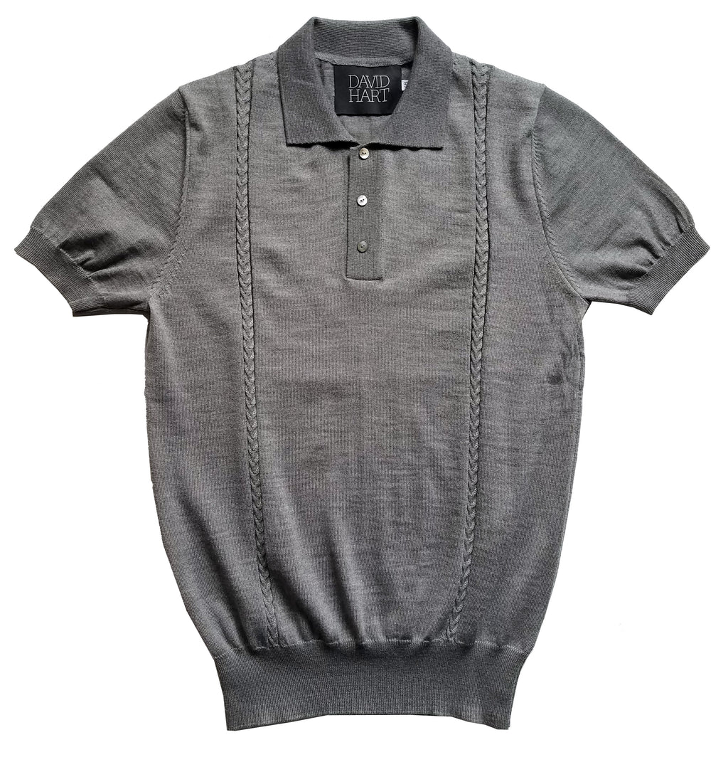 Grey Cable Knit Polo