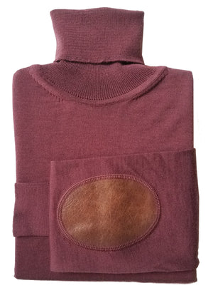 oxblood turtleneck with leather patches