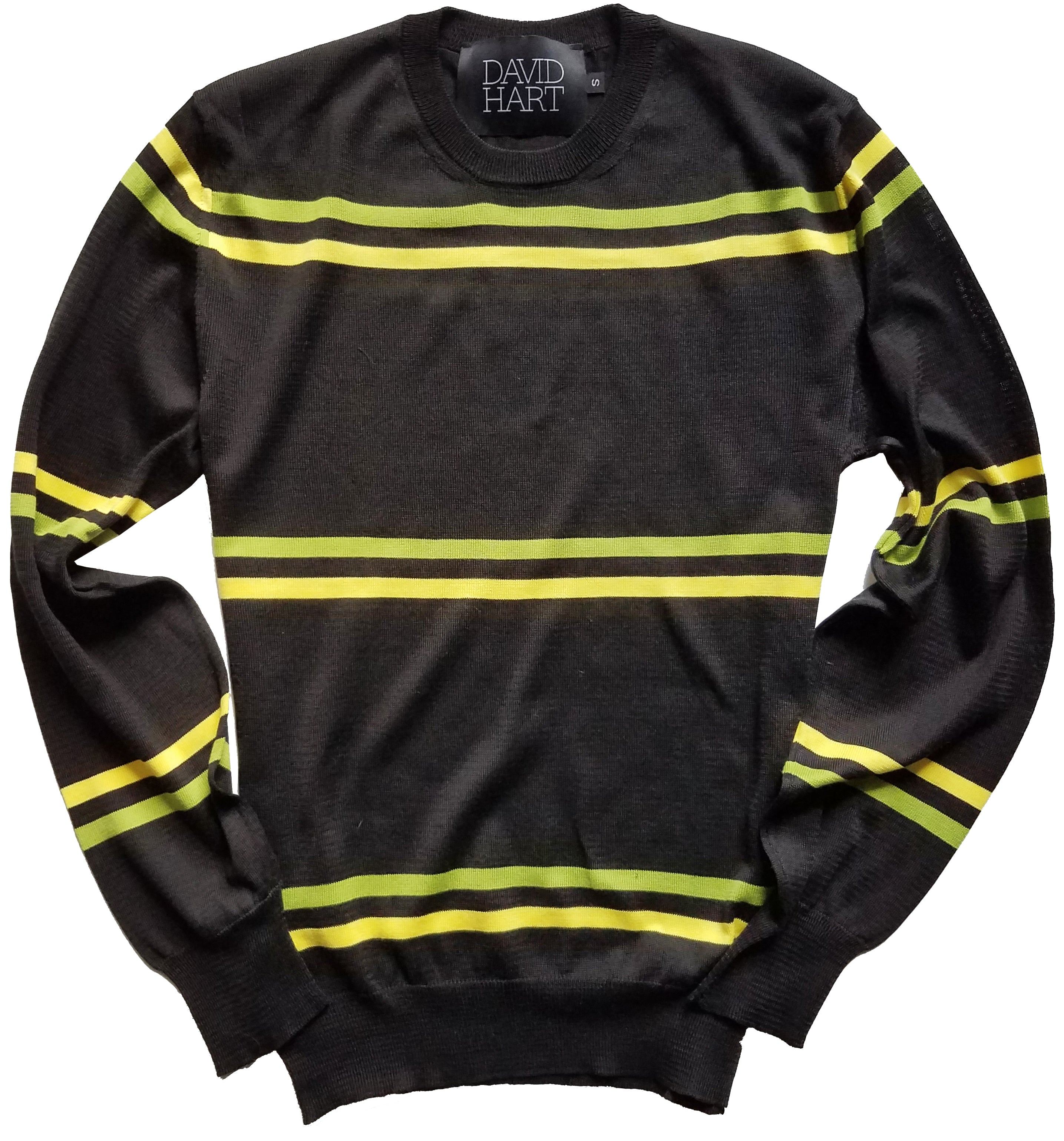 black crew neck sweater with green and yellow stripes