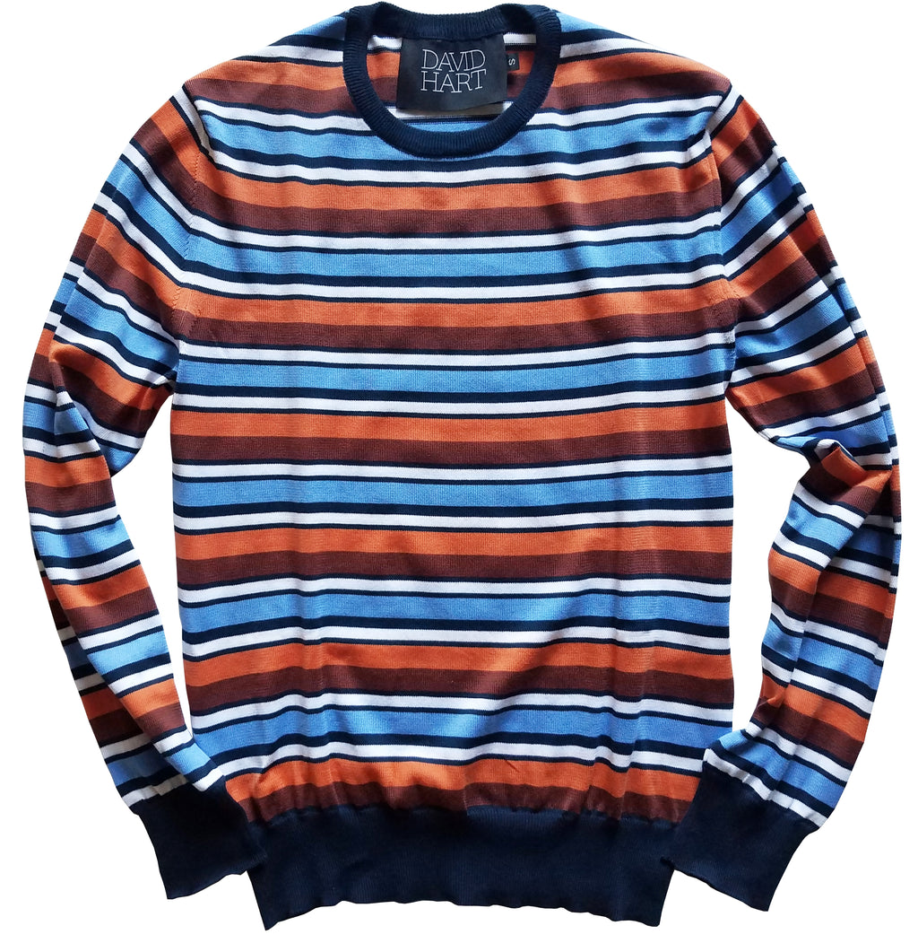 navy and coral striped crew sweater
