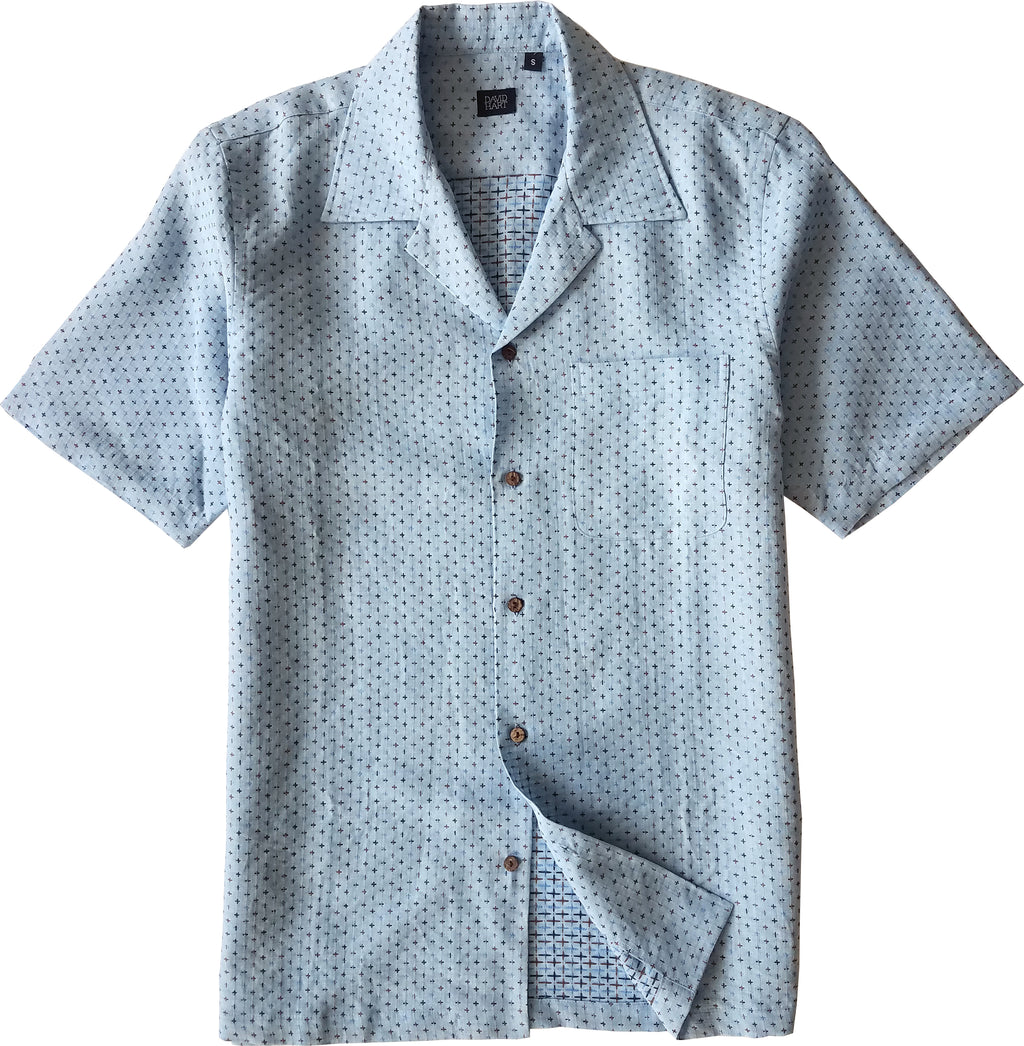 blue linen camp shirt