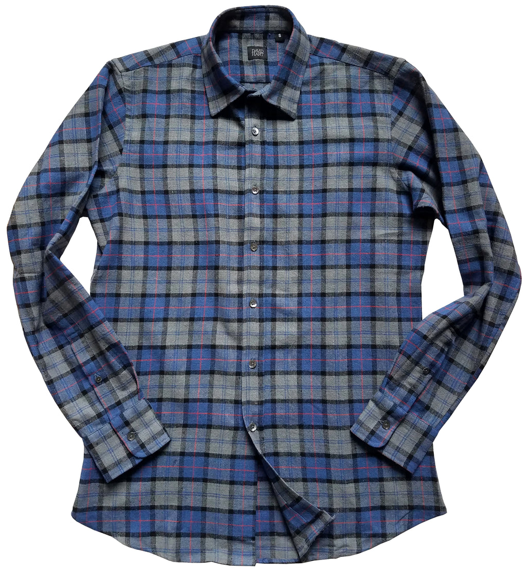 blue and grey tartan button down