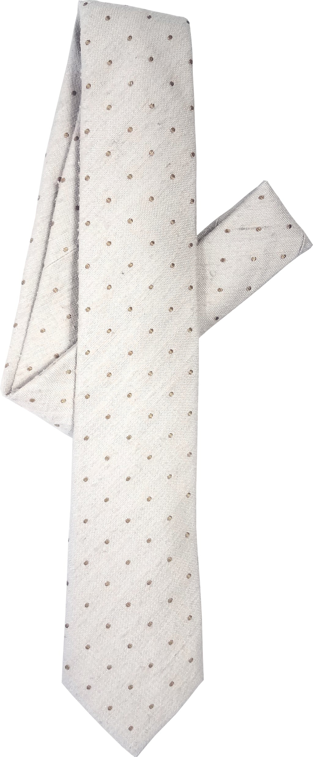 cream pin dot tie