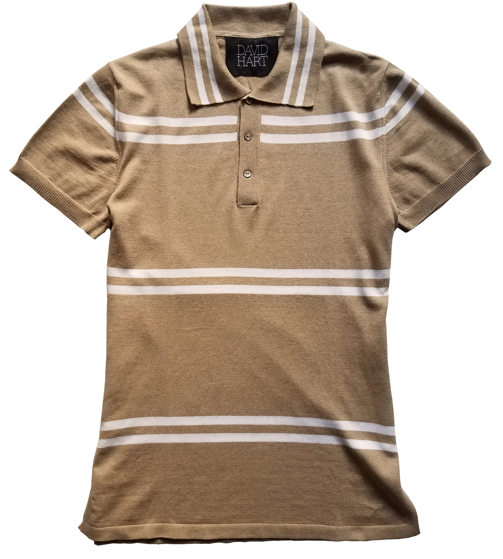 camel double stripe polo sweater