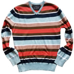 blue and coral striped v-neck sweater