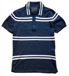 navy double stripe polo sweater
