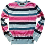 blue and pink striped crew sweater