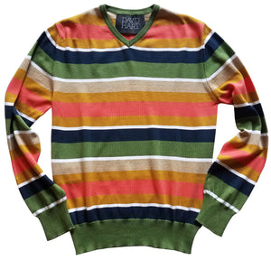 green and coral striped v-neck sweater