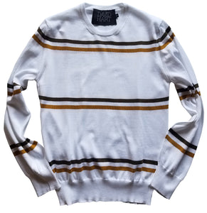cream and camel striped crew sweater