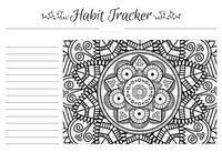 Any Month Color-Me Habit Tracker: Mandala Design (Size A4)